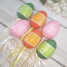 Набір яєць 6 см. 6 шт. на піку кольорові з орнаментом