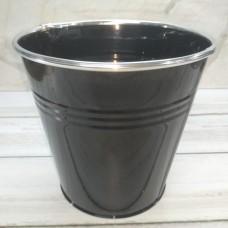 Кашпо металеве чорне 15х16,5 см.