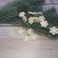 Сніжинки дерев'яні білі 2 см
